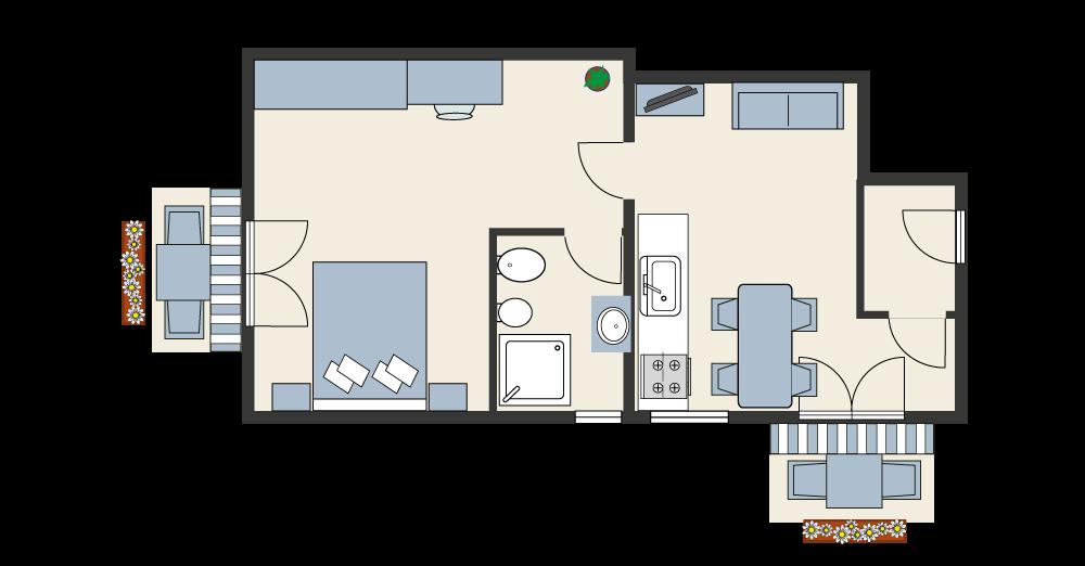Grundriss der klassischen Zweizimmerwohnung B